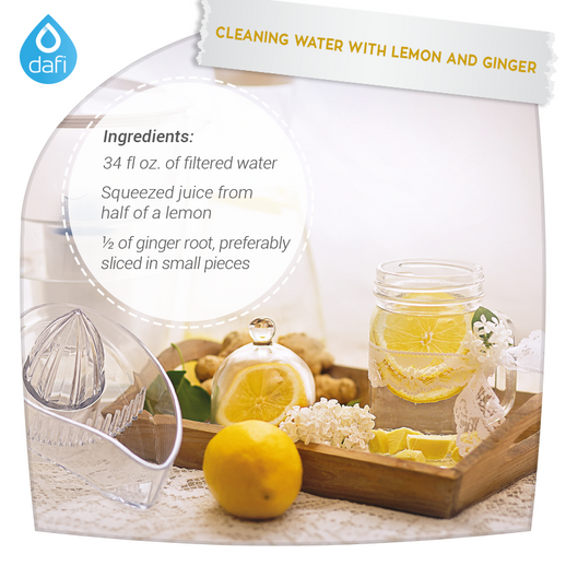 Cleaning Water with lemon and ginger