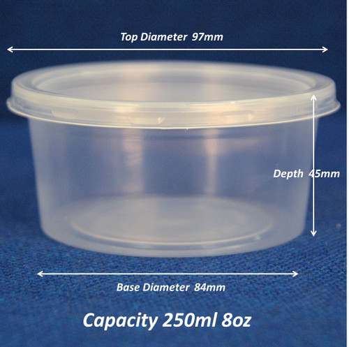 Pack x 100  Round Microwavable 8oz Tub and CLEAR Lids Dia 97mm depth 45mm ( min 10pks )