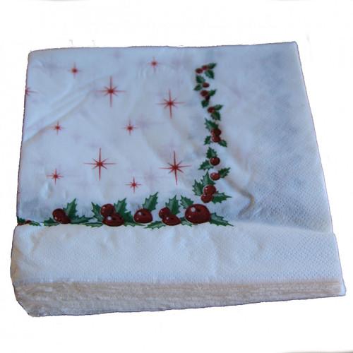 Pack x 50 Christmas Napkins 33 x 33cm 2ply Christmas Berries ( min  20 pks )