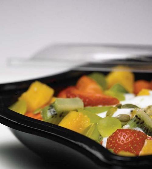 Pack x 100 750ml Black Wave Salad Box Bases (196 x 196 x 46 )