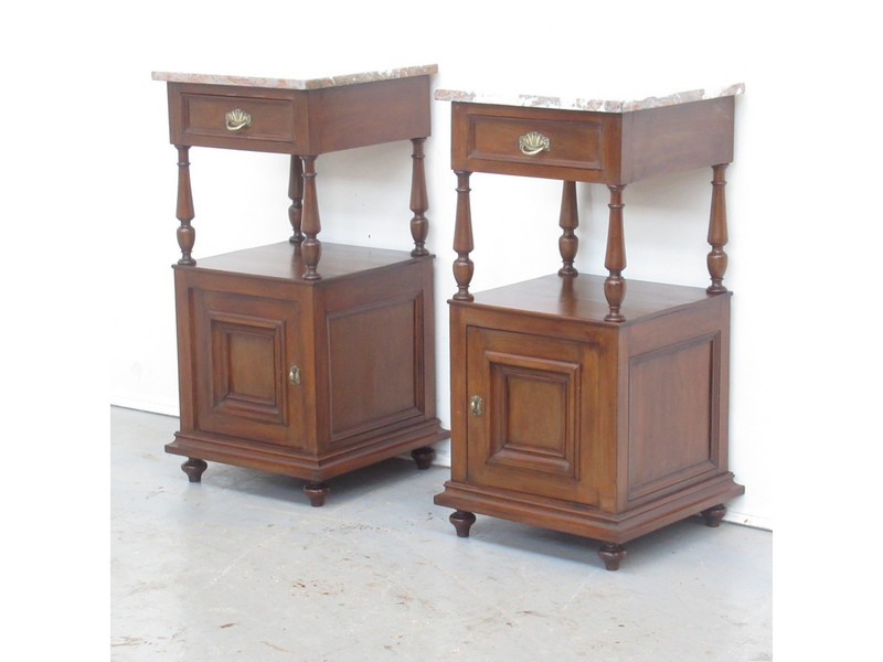 A pair of classical French marble top side tables