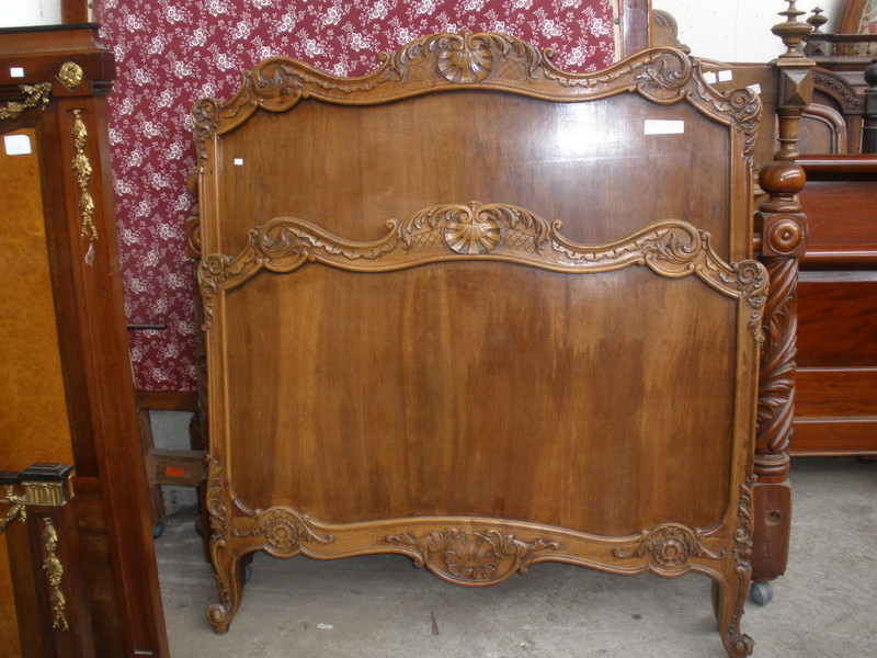 French King Single Walnut Antique Bed
