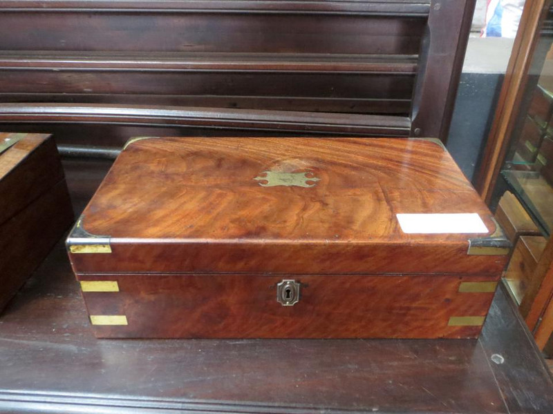 Flame mahogany leather insert deed box
