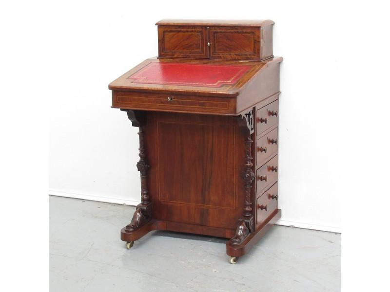 Superb colour burr-walnut davenport desk