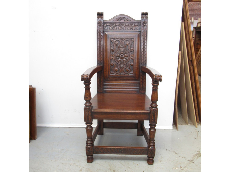 A Yorkshire Oak panelled back armchair (or master's chair) with superb  waxed colour