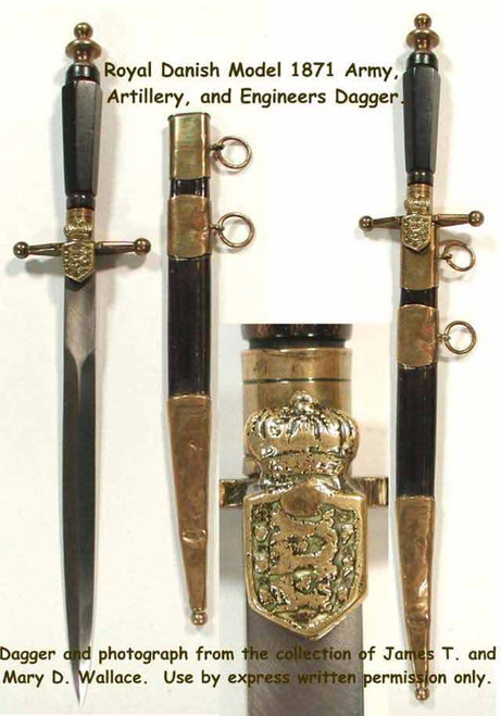 1910 Royal Danish Army, Artillery and Engineers Corps Dagger  #102
