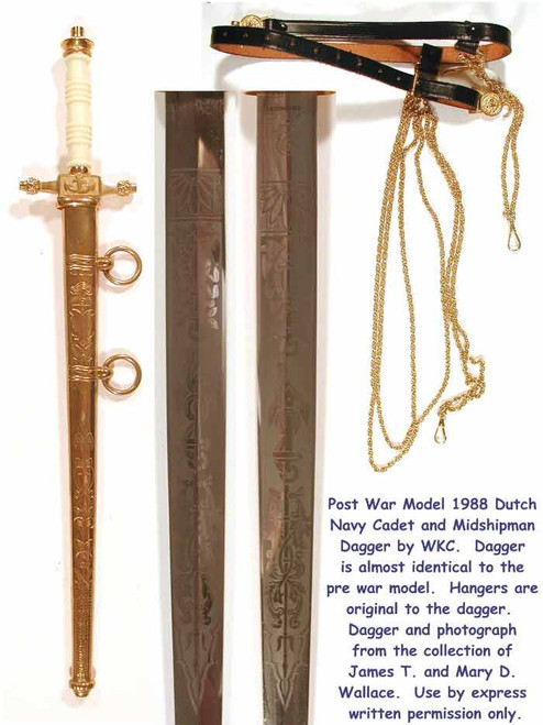 1888 Model Holland Naval Cadet Gold Dagger POST WW2  #111