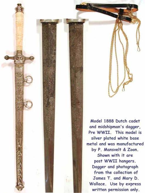 1888 Model Holland Naval Cadet Silver Dagger#110