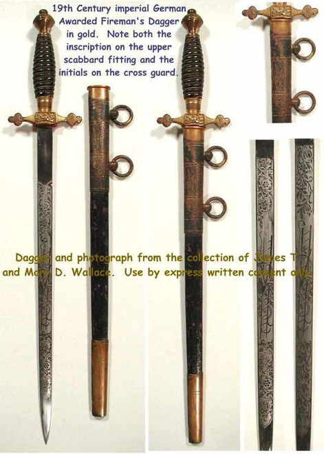 19th Century Imperial German Fire Dagger Awarded  #249