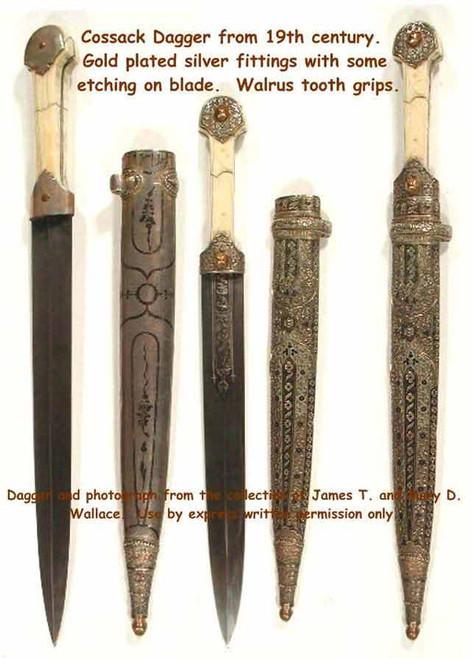 19 th Century Cossack Dagger Silver Plated#221