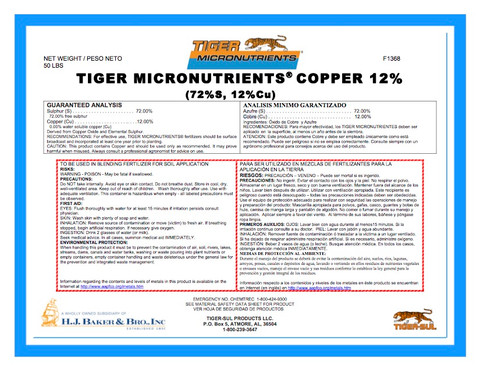 Copper Oxide 12% Tiger Micro-nutrient Granular 50 lb