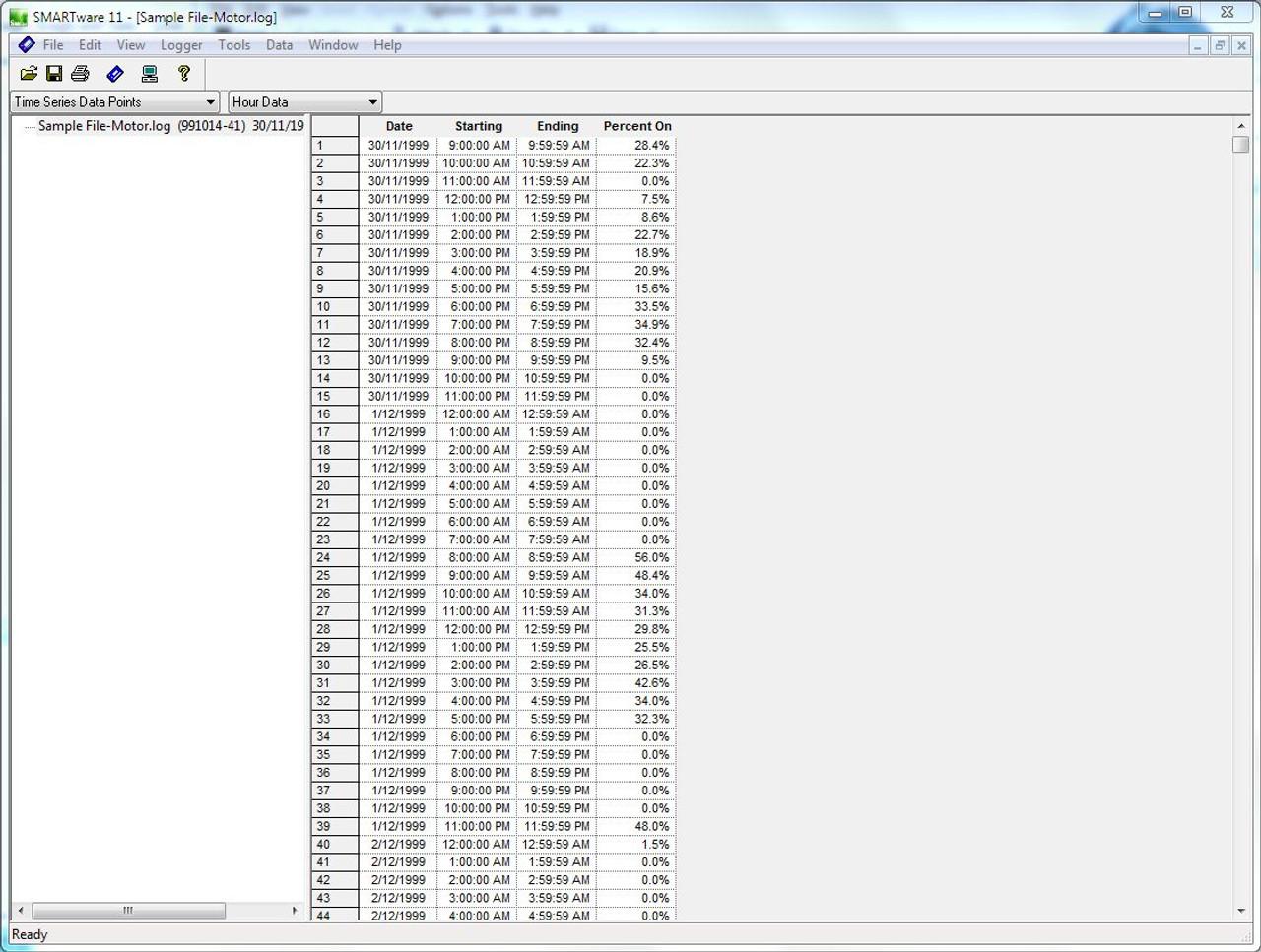 Dent Instruments SMARTlogger Time of Use transition data.