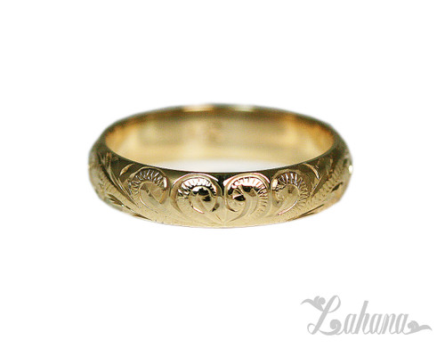 4mm 14K Yellow Gold Ring Heart Scroll Lahana