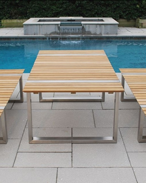 Kingsley Bate Boca Teak And Stainless Steel Table BO77 And BO60 Benches,  Sold As A