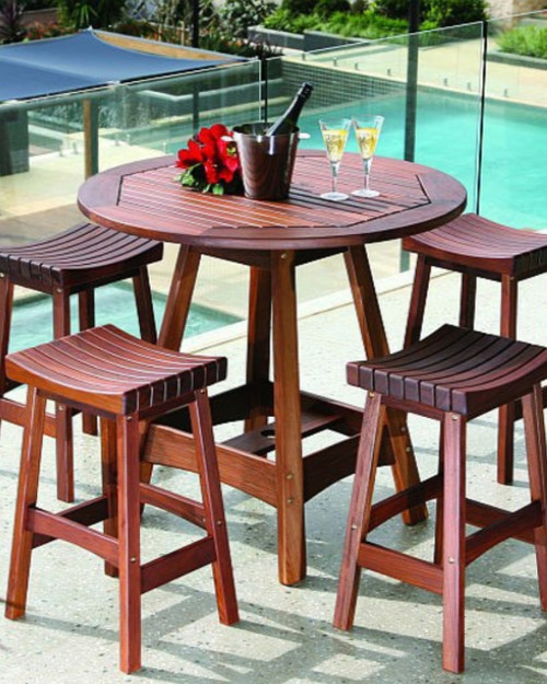 5 Piece Round Outdoor Ipe Wood Dining Set By Jensen Leisure Set Includes (1