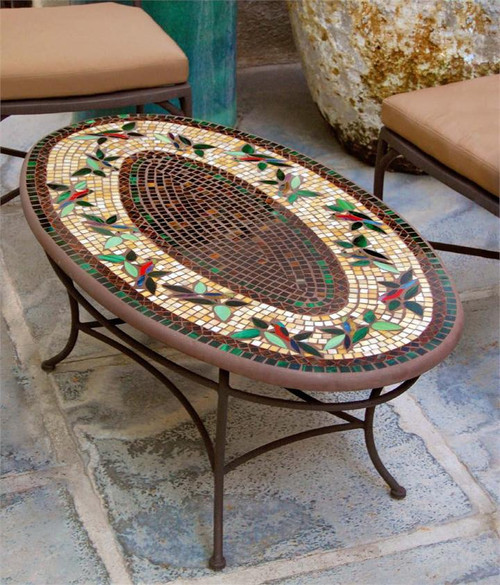 Knf Designs Oval Mosaic Tiled Coffee Table