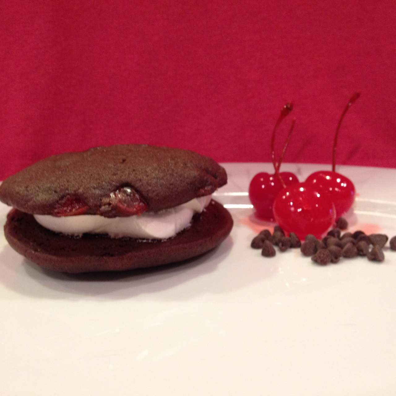 12 Pack- Medium Chocolate Cherry Whoopie Pies (Birthday Party Size)