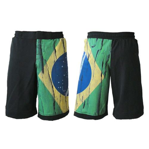 Brazil Distressed Flag MMA Fight Shorts