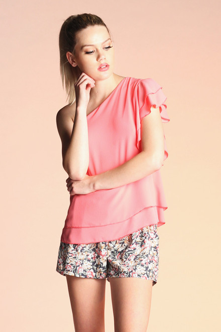 Candy Pink Top One Shoulder
