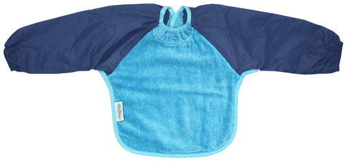 Aqua/Navy Towel Long Sleeve Bib