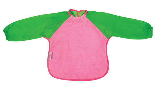Cerise/Lime Towel Long Sleeve Bib
