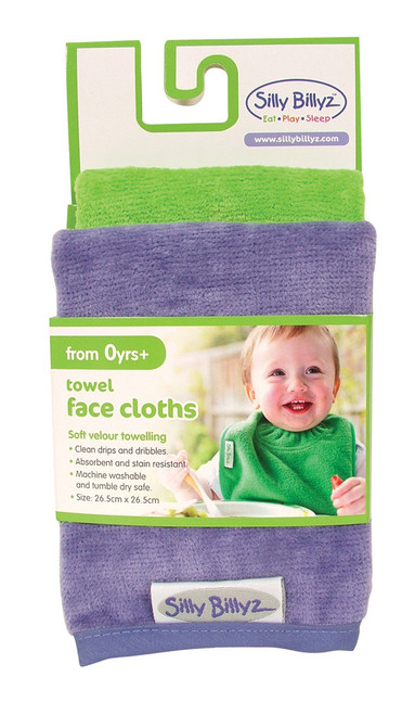 Lime/Lilac Towel Face Washer 2pk
