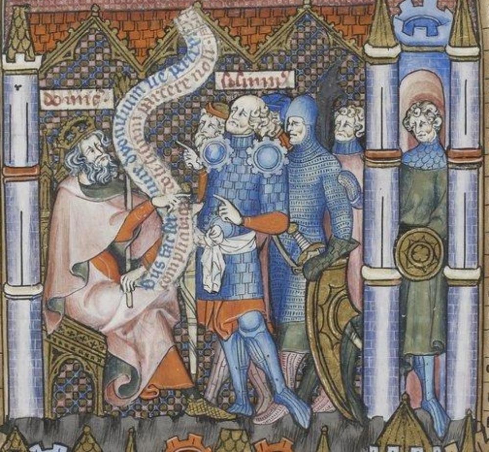 Historical Source:  Manuscript - BNF Français 2091 Vita et Passio Beati Dionysii; Folio - 121r; Dating - 1317; From - Paris, France; Holding Institution - Bibliothèque Nationale.