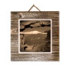 #46 Metal Print on Grey-washed Plaque on Wall