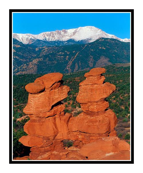 Pikes Peak over Siamese Twins in Garden of the Gods in Colorado Springs, Colorado 291