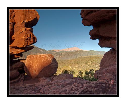 Pikes Peak Through the Siamese Twins in Garden of the Gods in Colorado Springs, Colorado 2044