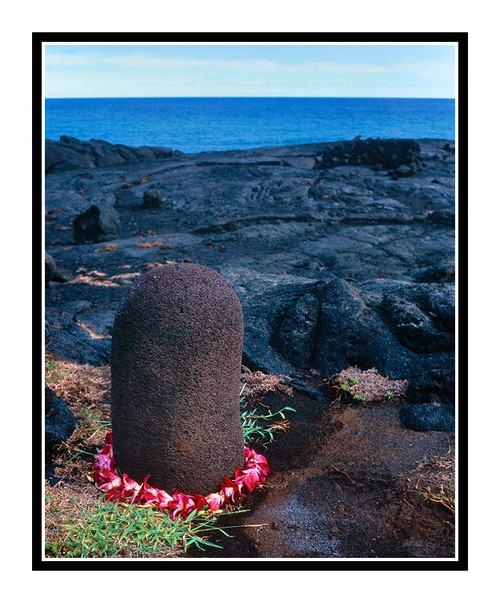 Volcanic Lava Rock with Lei in Volcano National Park, Big Island, Hawaii 472