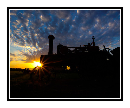 Antique Tractor Against a Vibrant Sunset in Salina, Kansas 2668