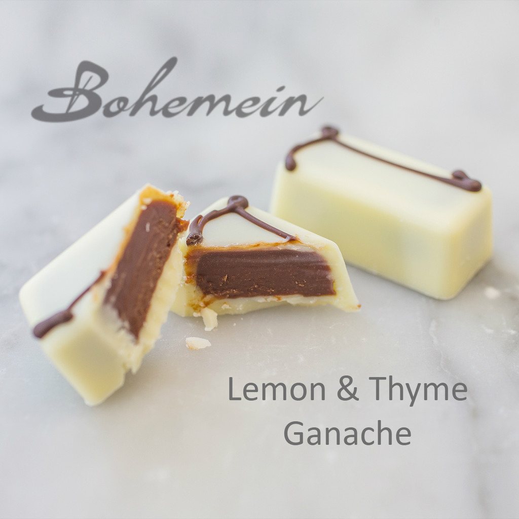 Bohemein Lemon and Thyme Ganache. A dark chocolate ganache is a piquant,tart and refreshing balance of Fresh Lemon and Thyme. Encased in white chocolate.