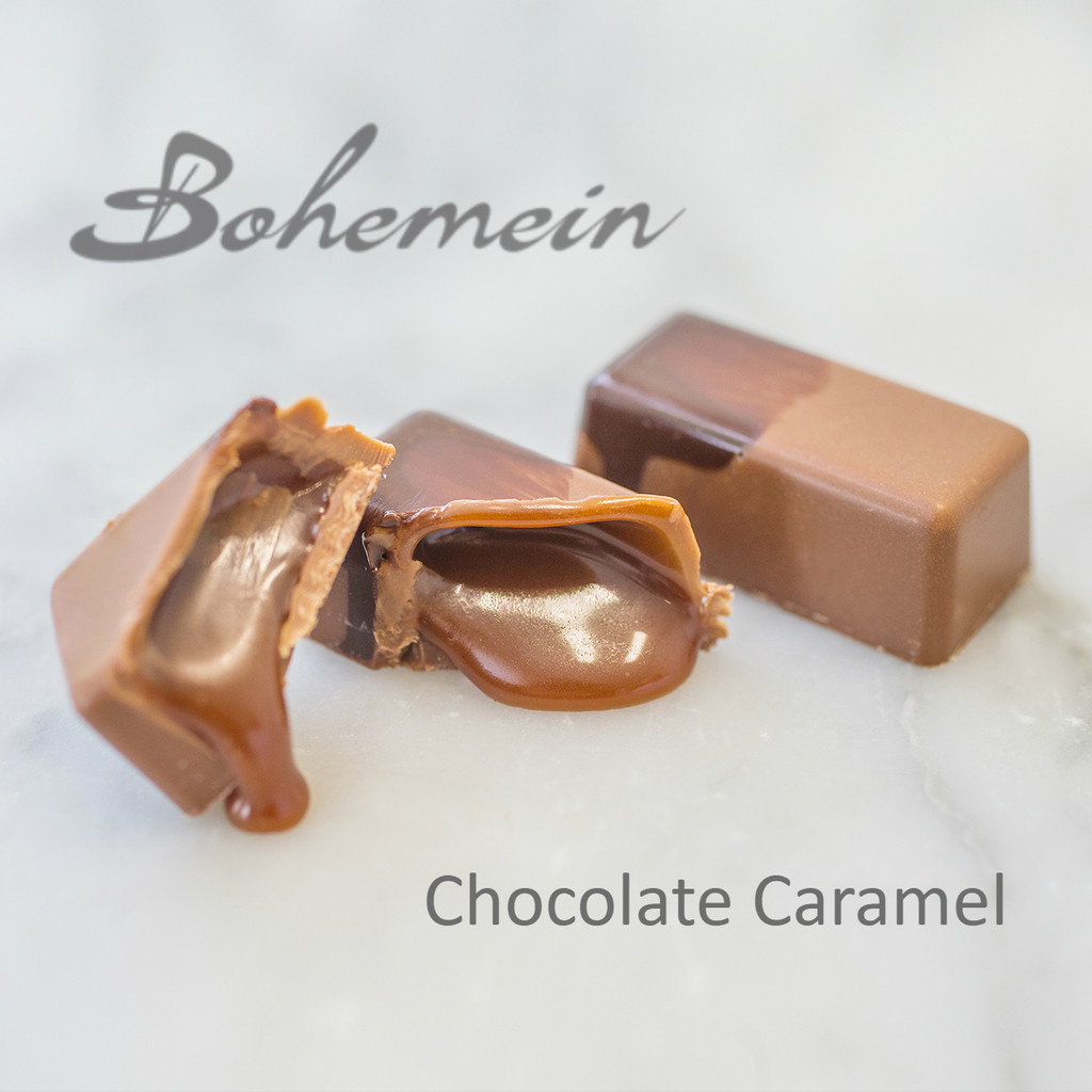 Bohemein Chocolate Caramel. Sweet, classic, soft textured caramel encased in a milk chocolate shell