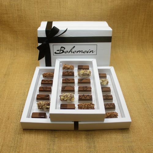 Bohemein 36  Milk Chocolates Gift Box includes: Chocolate Caramel x6, Amaretto Truffle x6, Cointreau Ganache x6, Vanilla Cream - Milk x6, Maple Cream x6, Coffee Truffle x6