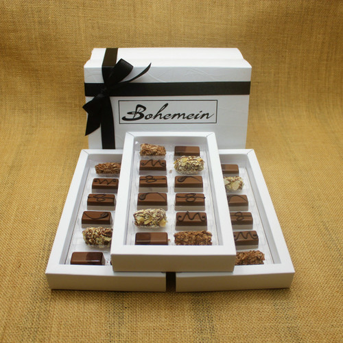 Bohemein 36  Milk Chocolates Gift Box includes: Chocolate Caramel x6, Amaretto Truffle x6, Cointreau Ganache x6, Vanilla Cream - Milk x6, Maple Cream x6, Coffee Truffle x6