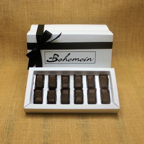Bohemein 12 chocolate gift Box filled with 12 2014 Cuisine Artisan AWARD &  2014 NZ Food AWARD  Winning Cocoa Nib Caramels Only. (aka Black Devil Caramel)