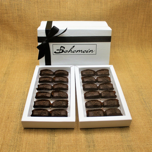 Bohemein 24 chocolate gift Box is filled with 24  2014 Cuisine Artisan AWARD &  2014 NZ Food AWARD  Winning Cocoa Nib Caramels Only. (aka Black Devil Caramel