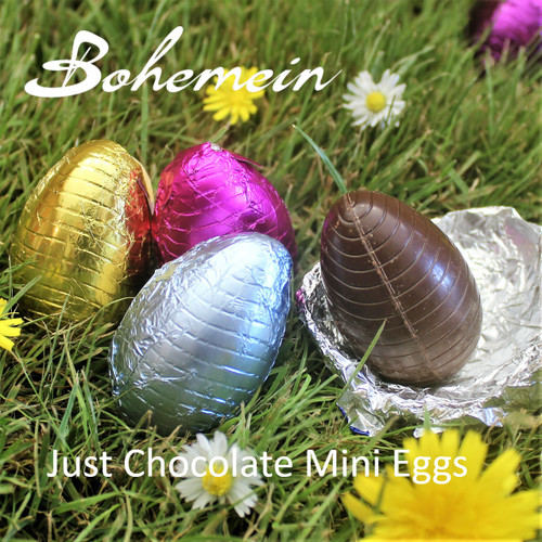 Bohemein Just Chocolate Mini Eggs. Hand Foiled with Assorted colours. Please choose Chocolate type.