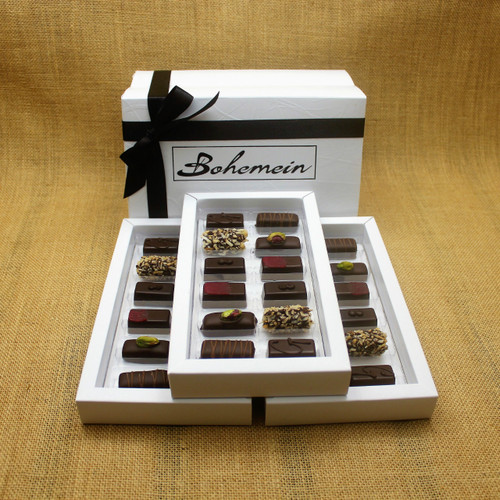 Bohemein 36  Dairy Free Chocolates Gift Box Includes: Noisette (Hazelnut) x6, Pistachio Marzipan x6, Raspberry Ganache x6, Creme de Menthe Fondant x6, Coconut Cream Truffles x6, Ginger Caramel x6