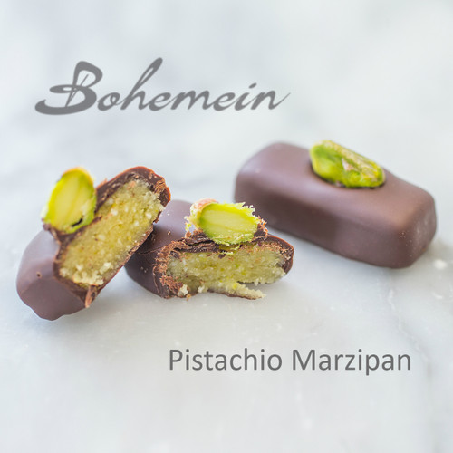 Bohemein Pistachio Marzipan.A well balanced blend of sweet almonds and pistachios, complimented with dark chocolate. Dairy FREE