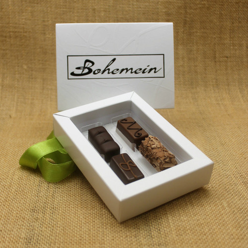 Bohemein Gift Box with 4 Nut Free Chocolates including: Balsamic Vinegar and Honey Ganache, Maple Cream, Vanilla Cream in Dark Chocolate, Coffee Truffle.
