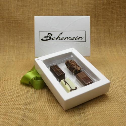 Bohemein Gift Box with 4  Non Alcohol Flavoured Chocolates including:  Vanilla Cream in Dark Chocolate, Seventy Truffle, Lemon and Thyme Ganache, Chocolate Caramel