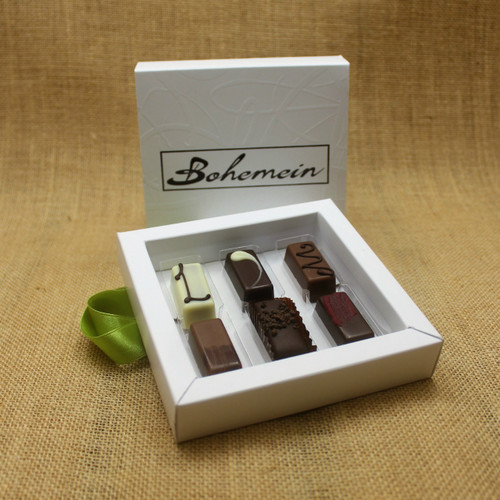 Bohemein Gift Box with 6 Nut Free Chocolates including: Lemon and Thyme Ganache, Pineapple and Black Pepper Ganache, Maple Cream, Chocolate Caramel, Cocoa Nib Caramel, Raspberry Ganache.