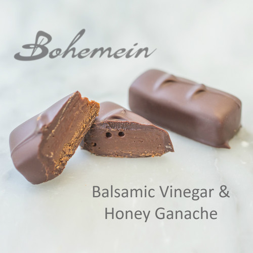 Bohemein Balsamic Vinegar and Honey Ganache. Classic sweet and sour in a new guise - sweet honey gives way to a slightly tart balsamic flavour and to bitter dark chocolate. This is a truly unique but tantalizing taste experience.