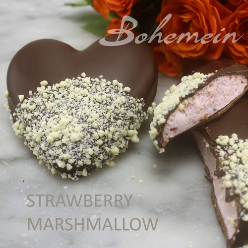 Bohemein Fresh Strawberry Marshmallow -  Milk chocolate Base, coated in 53% Dark chocolate and sprinkled with White chocolate.