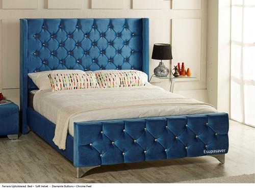 Ferrara upholstered bed shown in soft velvet fabric, chrome feet, and diamante buttons.