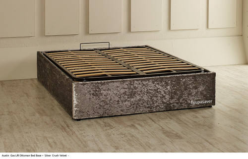 Austin Gas Lift Ottoman Storage Bed Base. Available in Crush Velvet, Chenille, Linen or Faux Suede Fabrics
