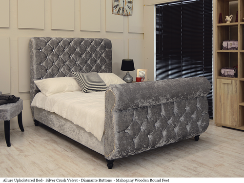 Allure Swan Design Upholstered Bed - Silver Crush Velvet - Diamante Buttons - Round Mahogany Wooden Feet