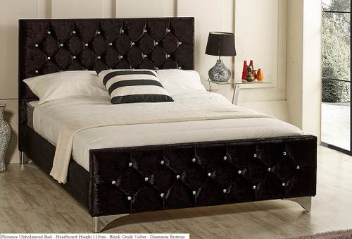 Florence upholstered bed shown in black crush velvet fabric, diamante buttons and chrome feet.